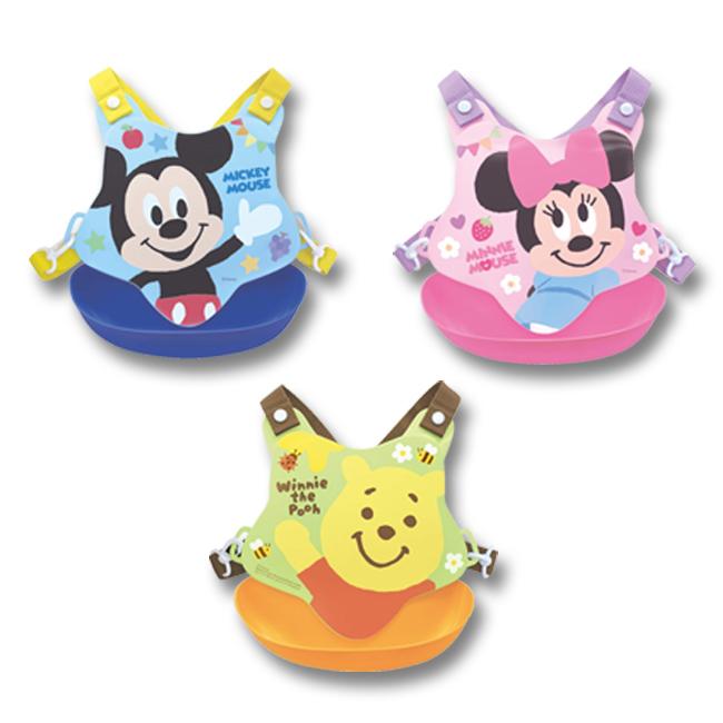 圍兜 迪士尼 米奇 米妮 維尼 繽紛 水果 星星 花朵 蜜蜂 藍 粉 黃 兒童 調整 溝槽 正版日本進口授權