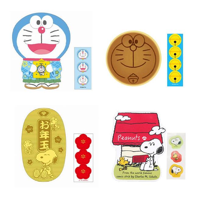 紅包袋 哆啦A夢 Snoopy 和服 銅鑼燒 狗屋 小判 金幣 造型 燙金 付貼紙 信封袋 3入 正版日本進口授權
