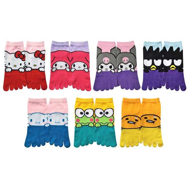 23-25cm 五指襪 日本 三麗鷗 Hello Kitty 美樂蒂 酷洛米 酷企鵝 大耳狗 大眼蛙 蛋黃哥 日本進口正版授權