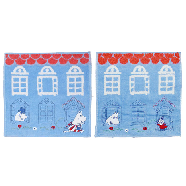 小方巾 嚕嚕米 小不點 房屋 刺繡 方型 手帕 毛巾 正版日本進口授權
