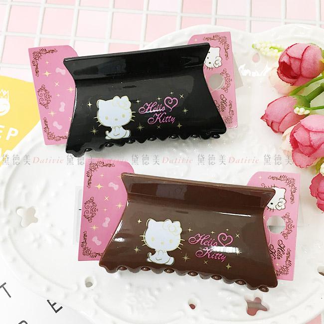 鯊魚夾 三麗鷗 Hello Kitty 閃爍 黑 棕 方型 髮夾 飾品 正版日本進口授權 (隨機出貨不挑款)