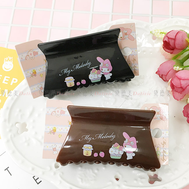 鯊魚夾 三麗鷗 美樂蒂 甜點 黑 棕 方型 髮夾 飾品 正版日本進口授權 (隨機出貨不挑款)