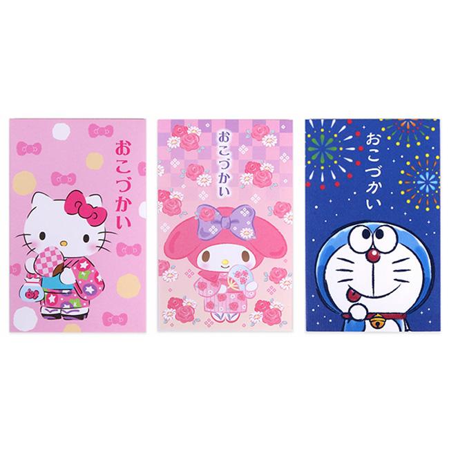 紅包袋 日本 三麗鷗 Hello Kitty 美樂蒂 哆啦A夢 夏季 和服 櫻花 煙火 迷你 信封袋 附貼紙 3入組 正版日本進口授權