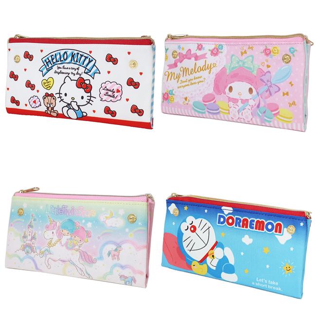 雙面筆袋 三麗鷗 Kitty 雙子星 美樂蒂 哆啦A夢 雙面收納袋 拉鍊筆袋 日本進口正版授權