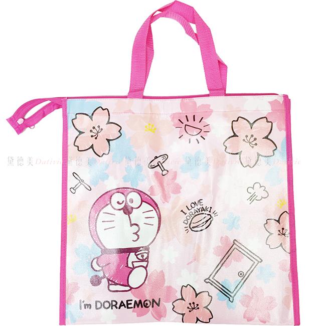 大收納袋 三麗鷗 哆啦A夢 櫻花版 粉色 大拉鍊收納袋 日本進口正版授權