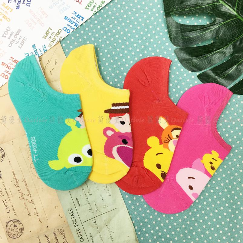 襪子 TSUMTSUM系列 維尼  迪士尼 止滑矽膠條 隱形襪 帆船襪 成人卡通襪 22~26CM 四款選  正版授權