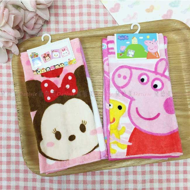 毛巾 米奇米妮 佩佩豬 3入小方巾 童巾 兩款選 正版授權