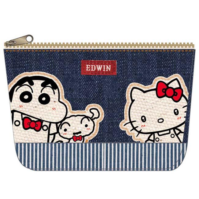 單寧收納包 Sanrio 三麗鷗 Hello Kitty X 蠟筆小新X EDWIN單寧收納包 聯名 化妝包 小包 正版授權日本進口