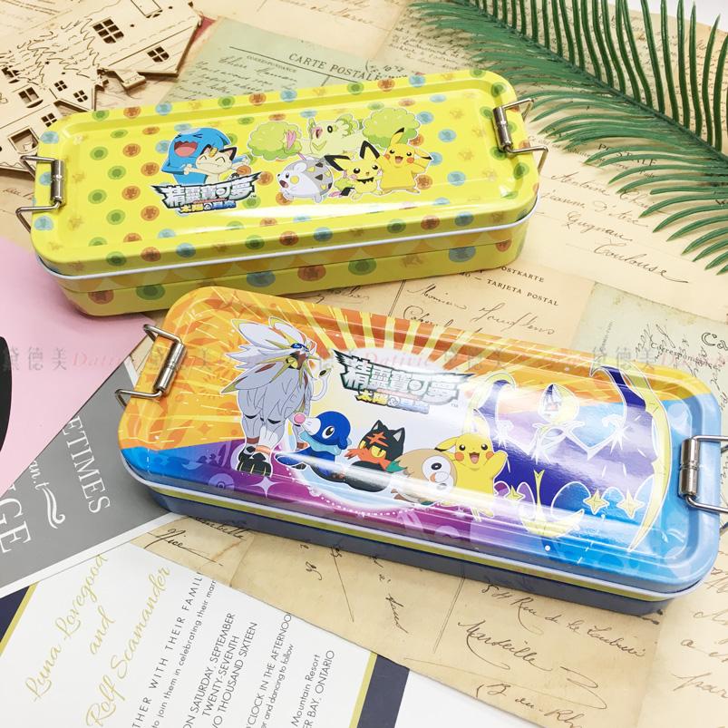 筆盒 精靈 寶可夢 皮卡丘 鐵扣 三層 鉛筆盒 鐵盒 正版授權