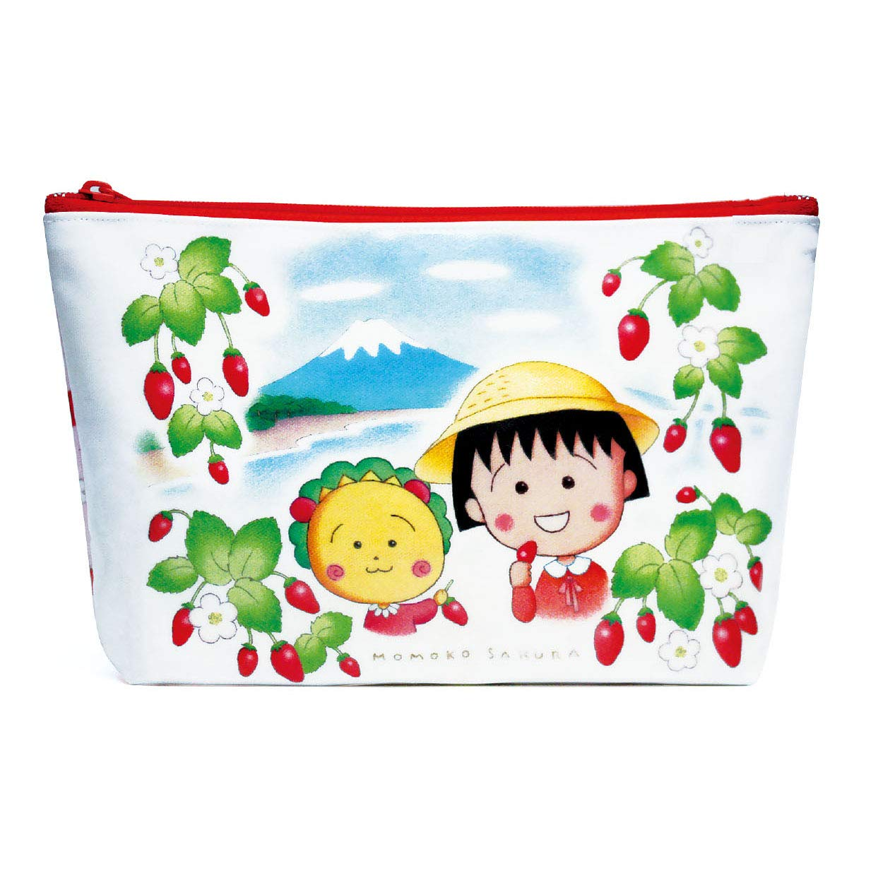 收納包 日本 櫻桃小丸子 花 草莓 拉鍊收納袋 筆袋 日本進口正版授權