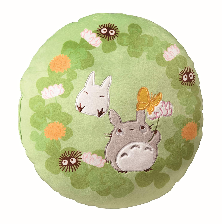 靠墊 宮崎駿 龍貓 圓形 絨毛 草綠色 抱枕 靠枕 日本進口正版授權
