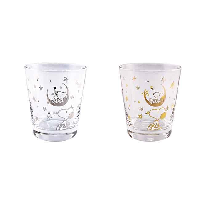透明玻璃杯 SNOOPY 史努比 金.銀 星星 月亮 兩款選 日本進口正版授權