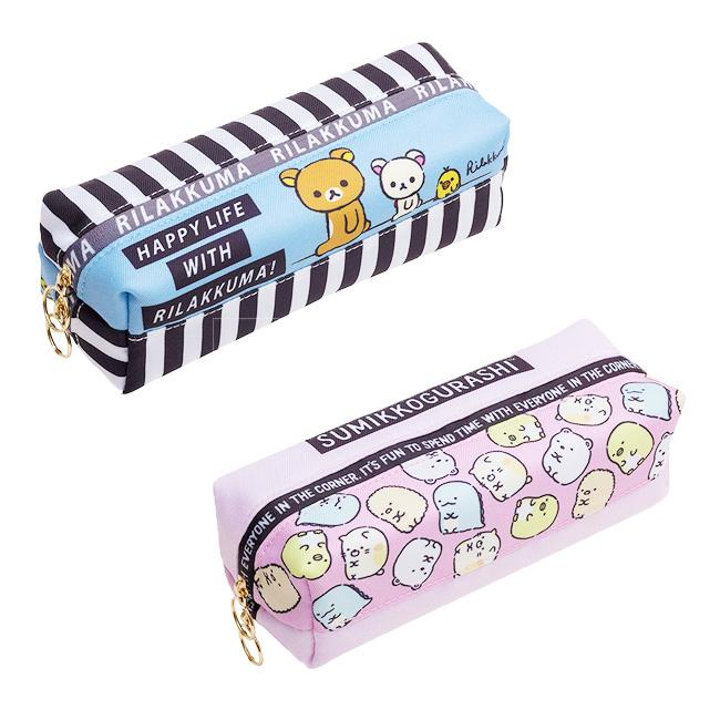 筆袋 SAN-X 角落生物 懶懶熊 藍色 粉色 皮革雙層 拉鍊 正版日本進口授權
