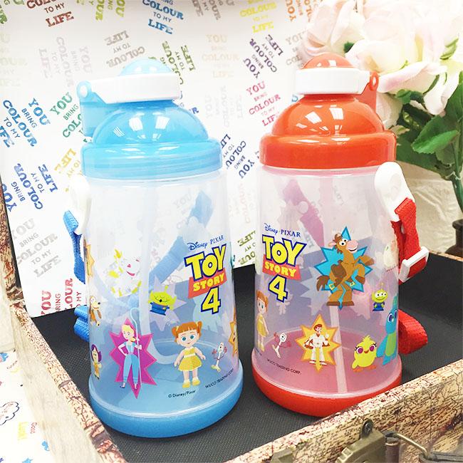 水壺 迪士尼 玩具總動員4 藍 紅 彈跳吸管式水壺 附背帶 正版授權