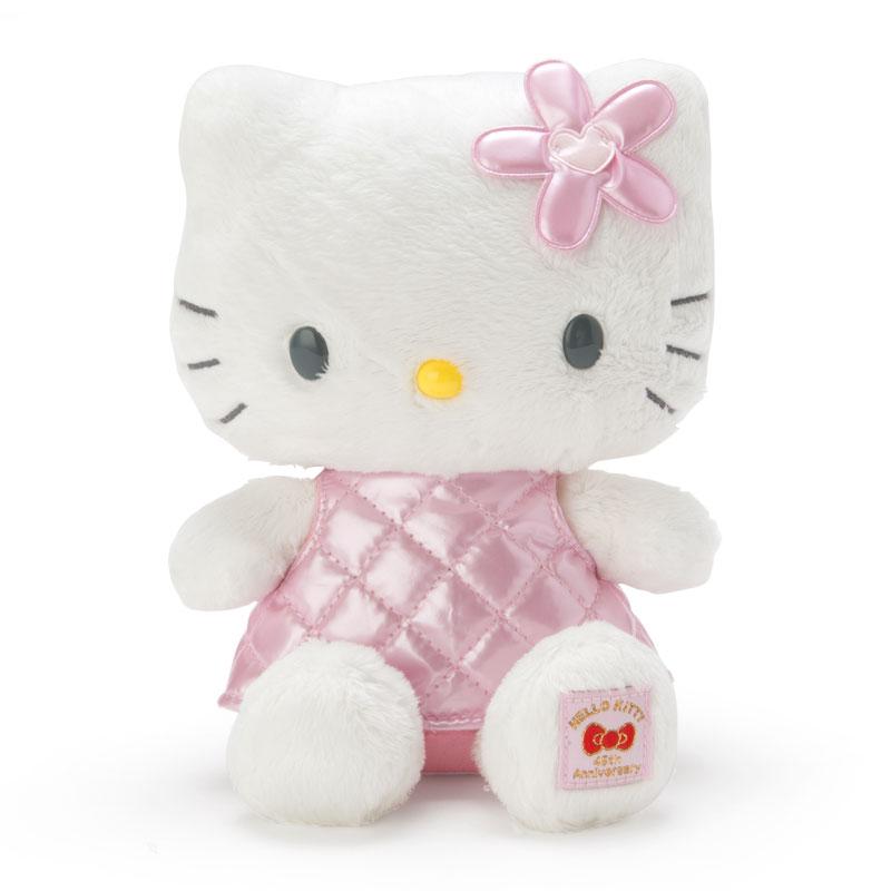 45th紀念娃娃 三麗鷗 Hello Kitty 凱蒂貓 粉格 愛心 花 蝴蝶結 娃娃 日本進口正版授權