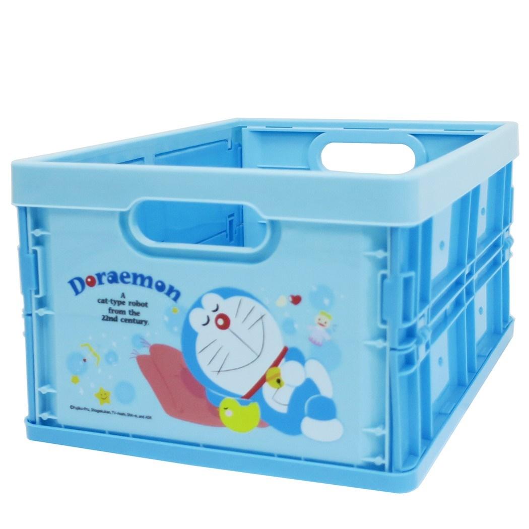 摺疊收納籃 三麗鷗 哆啦A夢 小叮噹 藍色 中型 摺疊收納箱 日本進口正版授權