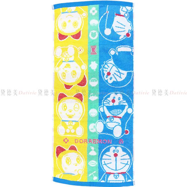 毛巾 三麗鷗 哆啦A夢 DORAEMON 小叮噹 小叮鈴 撞色 棉 長毛巾 日本進口正版授權