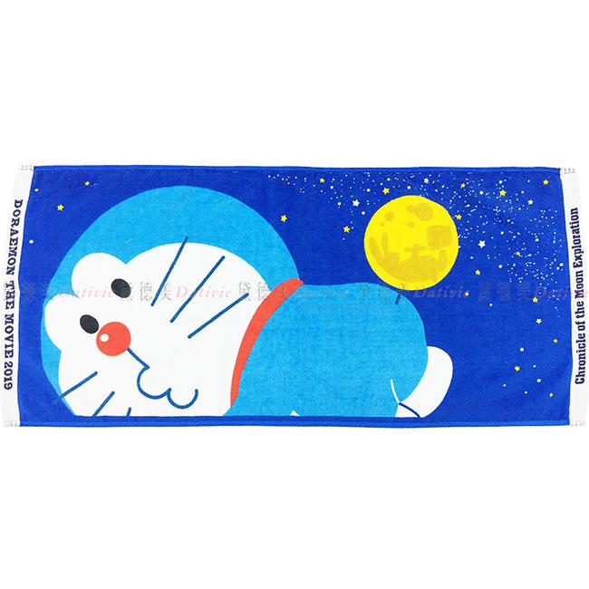 月球版長巾 三麗鷗 哆啦A夢 DORAEMON 小叮噹 深藍 棉 長毛巾 日本進口正版授權