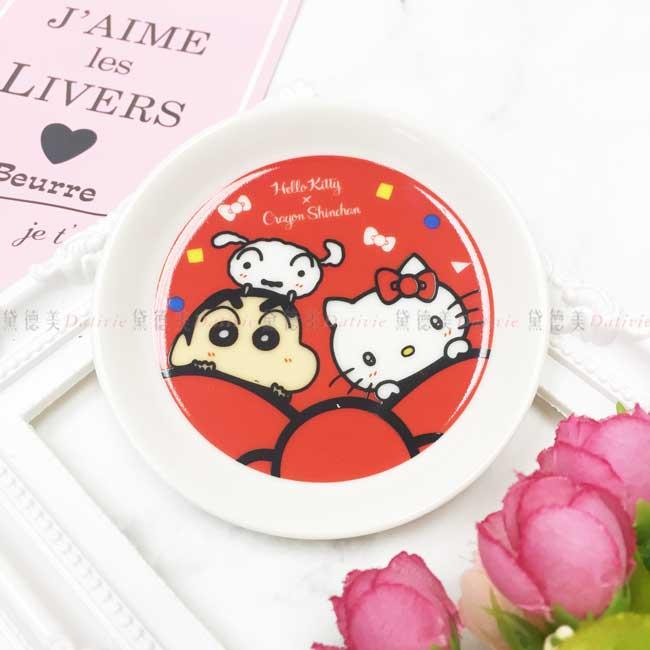 小圓盤 日本 三麗鷗 Hello Kitty 蠟筆小新 小白 蝴蝶結 陶瓷圓盤 日本進口正版授權