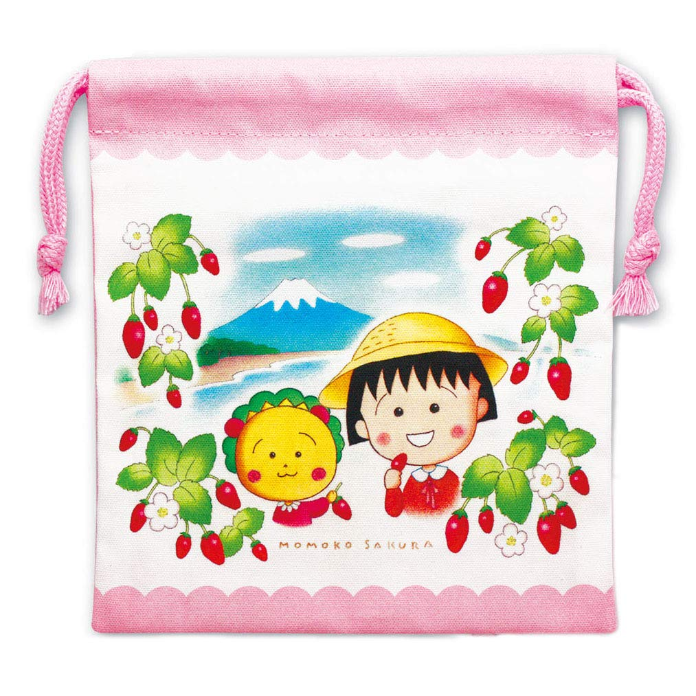 束口袋 日本 櫻桃小丸子 草莓 富士山 花 粉色 卡通人物造型束口袋 日本進口正版授權