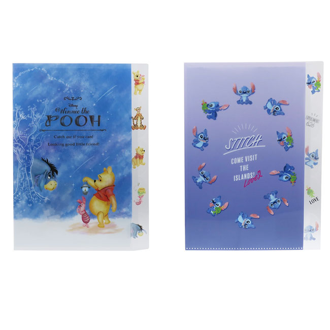 A4多層L型文件夾 日本 迪士尼 小熊維尼 小豬 史迪奇 2款 L型資料夾 日本進口正版授權