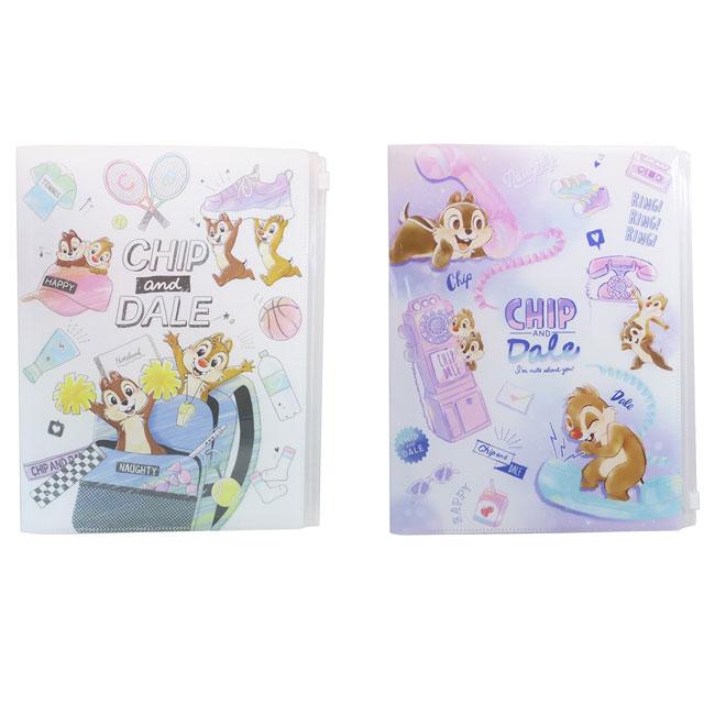 對開式文件夾 迪士尼 Disney 奇奇蒂蒂 CHIP&DALE 拉鍊 資料夾 日本進口正版授權
