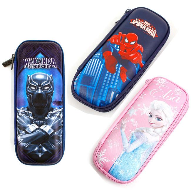 筆袋 迪士尼 漫威 黑豹 蜘蛛人 艾莎 雙層硬殼筆袋 韓國進口正版授權