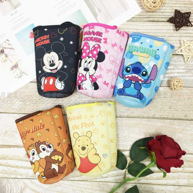 飲料提袋 迪士尼 Disney 米奇 米妮 奇奇蒂蒂 小熊維尼 史迪奇 5款 水瓶提袋 正版授權