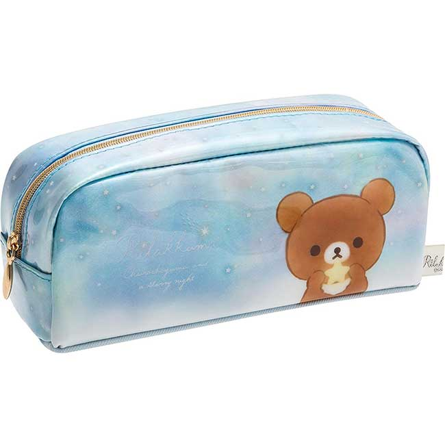 亮膠筆袋 SAN-X 懶懶熊 拉拉熊 藍色 拉鍊 收納包 化妝包 日本進口正版授權