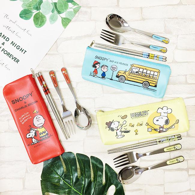 餐具組 SNOOPY 三件式不鏽鋼餐具組 湯匙 筷子 叉子 查理布朗 史努比 巴士 廚師  正版授權