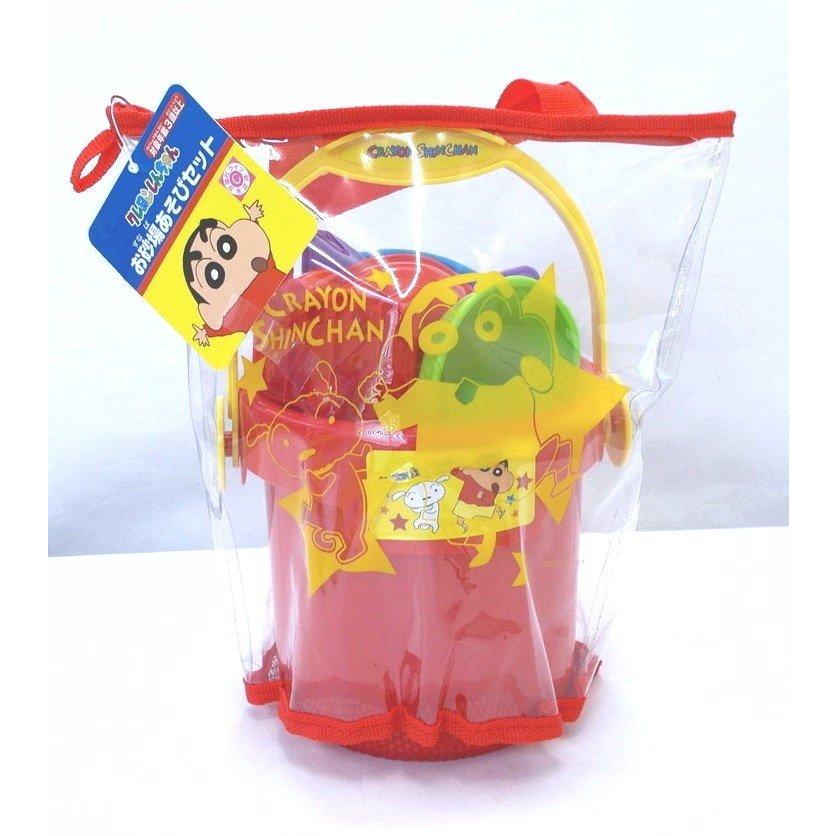 海灘玩具組 蠟筆小新 小白 附貼紙 桶裝挖沙玩具組 日本進口正版授權