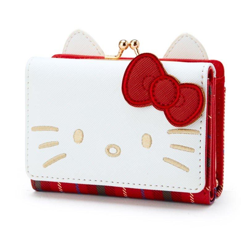 口金短夾 三麗鷗 Hello Kitty 凱蒂貓 KT貓 紅格紋 造型短夾 日本進口正版授權