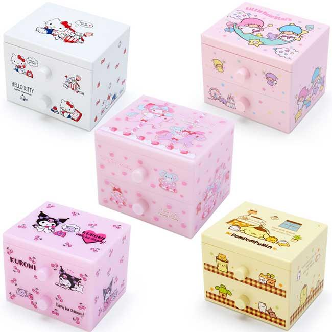 桌上型雙層收納櫃 三麗鷗 Kitty 美樂蒂 布丁狗 酷洛米 雙子星 5款 收納盒 日本進口正版授權