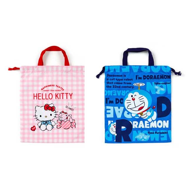 束口袋 日本 三麗鷗 Hello Kitty 凱蒂貓 哆啦A夢 小叮噹 提把 大收納袋日本進口正版授權