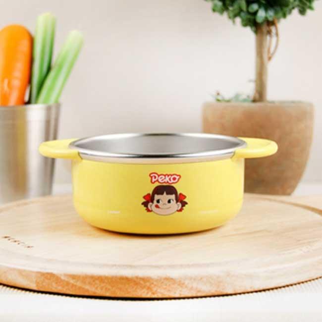 雙耳碗 韓國 不二家 牛奶妹 Peko 黃色 不鏽鋼碗 韓國進口正版授權