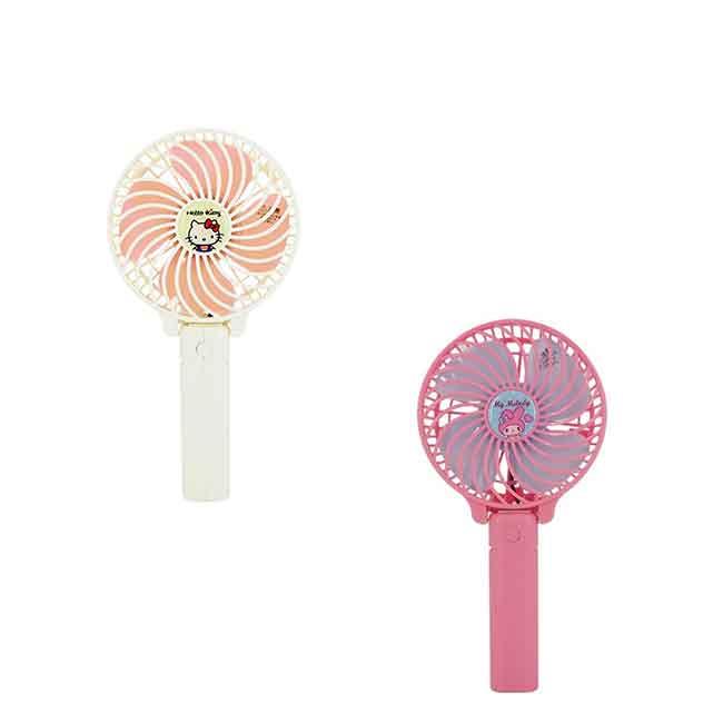 手持風扇 三麗鷗 Hello Kitty 凱蒂貓 美樂蒂 兩款選 手持 可夾 摺疊桌上型 日本進口正版授權
