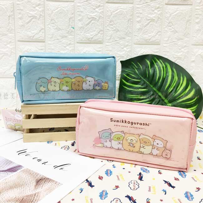 鉛筆盒 SAN-X角落生物 四方筆袋 冰淇淋 貓咪裝 藍 粉 正版授權