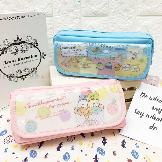 鉛筆盒 SAN-X角落生物 雙層筆袋 旅行 冰淇淋 藍 粉 正版授權