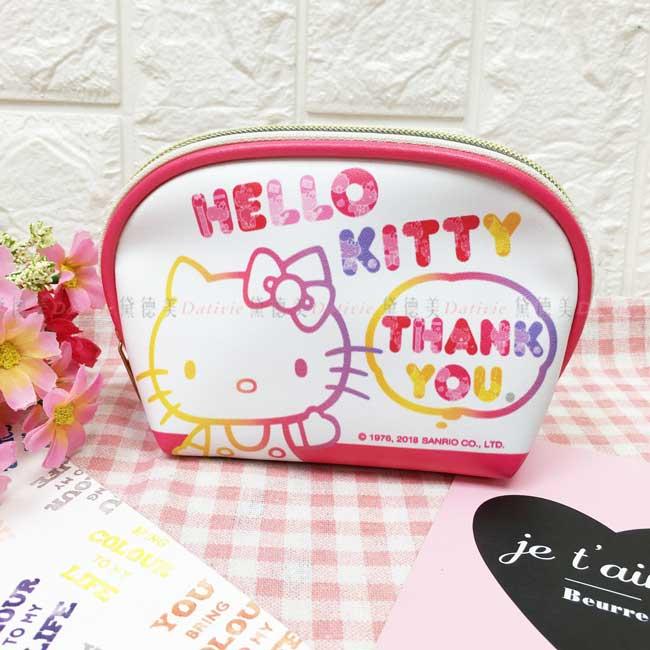 收納包 三麗鷗 Hello Kitty 凱蒂貓 半圓形 化妝包 仿皮 正版授權