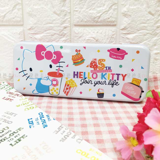 鉛筆盒 三麗鷗 Hello Kitty 凱蒂貓 寬鐵筆盒 雙層 45周年 正版授權
