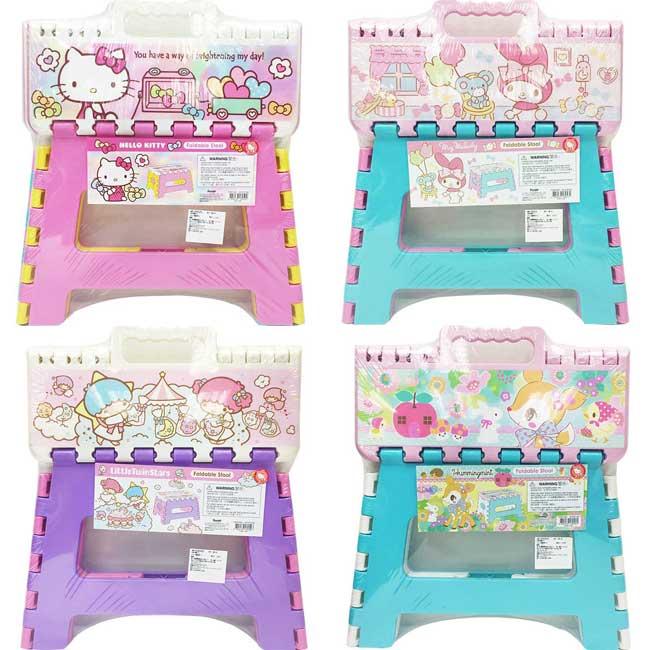 摺疊矮凳 三麗鷗 kitty 美樂蒂 kikilala 哈妮鹿 4款 摺疊椅子 日本進口正版授權