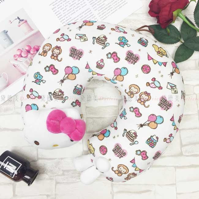 造型U型靠枕 三麗鷗 Hello Kitty 凱蒂貓 立體KT臉 白色 頸枕 日本進口正版授權