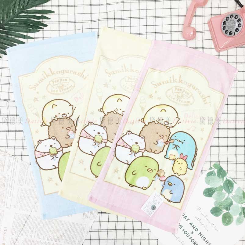 童巾 SAN-X 角落生物 恐龍 貓咪 白熊 企鵝 炸豬排 炸蝦 毛巾 三款選 正版授權