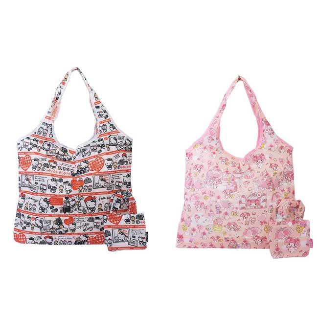 收納環保袋 三麗鷗 Hello Kitty 凱蒂貓 美樂蒂 滿版 收納購物袋 日本進口正版授權