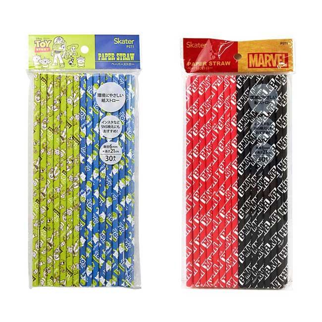 紙吸管 迪士尼 皮克斯 玩具總動員 漫威 MARVEL 30入 造型紙吸管 日本進口正版授權