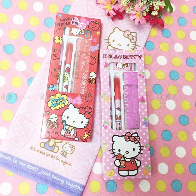 學童4件文具組 三麗鷗 Hello Kitty 凱蒂貓 KT貓 橡皮擦 尺 鉛筆 2色 上學用品 正版授權