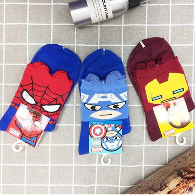 襪子 漫威 復仇者聯盟 蜘蛛人 美國隊長 鋼鐵人 1/2襪 2尺寸 童襪 正版授權