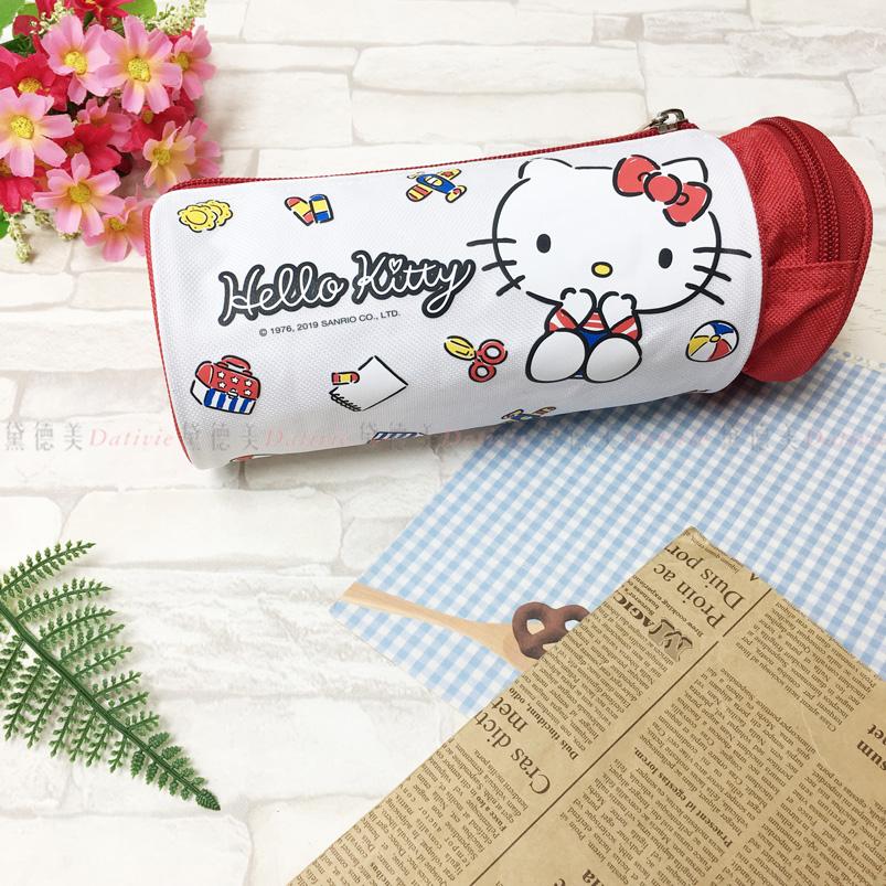 鉛筆盒 kitty 三麗鷗 筆袋 圓筒 雙格 收納 正版授權