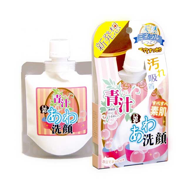 青汁泡沫洗顏泥 日本 LABELAGE 洗面乳 去角質 去黑頭粉刺 保濕 110g 日本製造進口