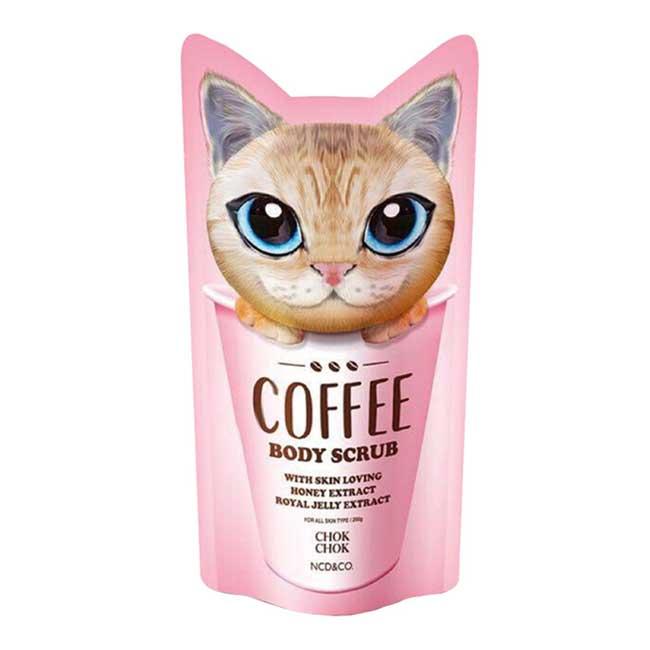 身體磨砂膏 韓國 CHOK CHOK 大眼貓咪咖啡身體磨砂膏 清潔肌膚 去角質 提亮保濕 200g 韓國製造進口